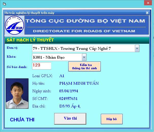 phần mềm thi bằng lái xe a2 giao diện nhập sbd